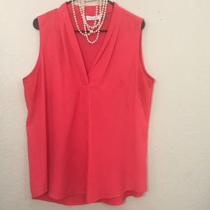 Coral Pleated V-Neck Shell